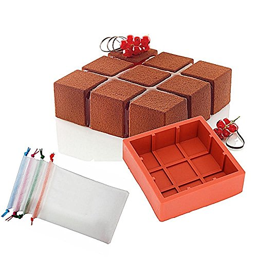 Wewin Silicone Cake Mold Square Cubic Lattice Shaped Baking Moulds Mousse Molds Pan for Dessert Decoration Tools with (Lattice Dessert)