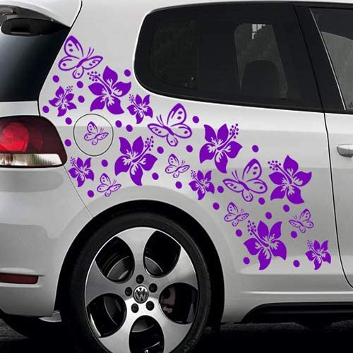 Baumgartner 66 Teiliges Hibiskus BlÜten Hawaii Blumen Schmetterlinge Auto Aufkleber Set Sb 001 052 Azurblau Auto