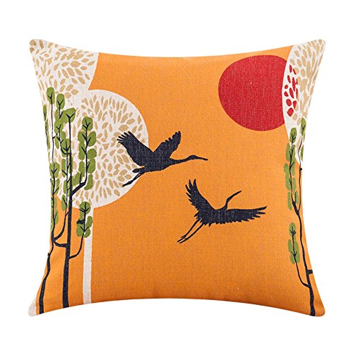 MR FANTASY Cotton Linen Cushion Cover Throw Pillow Case Japanese Grus for Home Office -