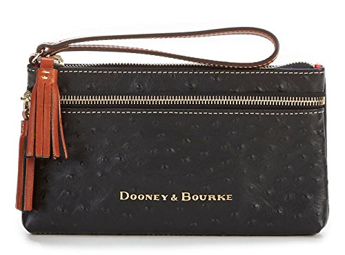 Dooney & Bourke Ostrich Collection Double-Zip Tasseled Wristlet (Black) by Dooney & Bourke