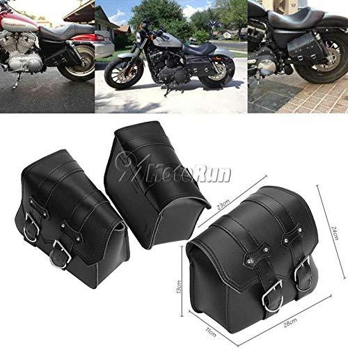 REFIT 2X Motorcycle Black PU Leather Saddle Bag Tool Bag for Harley Davidson Sportster XL 883 1200 Iron XL883N Hugger Custom