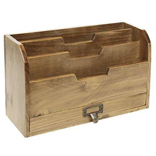 MyGift 3 Tier Country Rustic Brown Wood Office Desk File Organizer Mail Sorter Tray Holder w/Storage - Sorter Organizer Mail