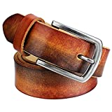1.3'' Width Mens Genuine Leather Belts with Pin Buckle Adjustable Belt - Black Gift Box