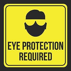 Aluminio protección ocular requiere impresión imagen amarillo negro aviso construcción zona precaución seguridad escuela sintética