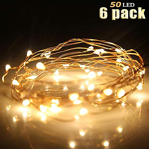 YOUNGFOECE 6 Pack Fairy Lights Battery Operated 16.5ft(5m) 50 LED Starry String Lights Waterproof Copper Rope Light (Warm White)