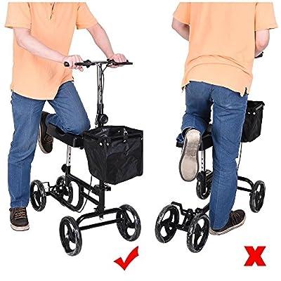 AW Adjustable Knee Scooter Walker w/ Basket Steerable Rolling Wheel Weight Capacity 300 lbs