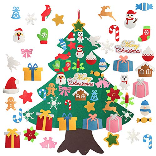 Marysay Felt Christmas Tree Set Ornaments Xmas Decorations Wall Hanging Kids Craft Kits Gifts Party Favors Supplies