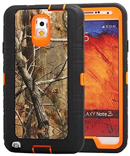 Huaxia Datacom Natural Tree Camo Heavy Duty Hybrid Armor Defender Full Body Protective Case Cover For Samsung Galaxy Note 3 - Camo Tree on Orange Core