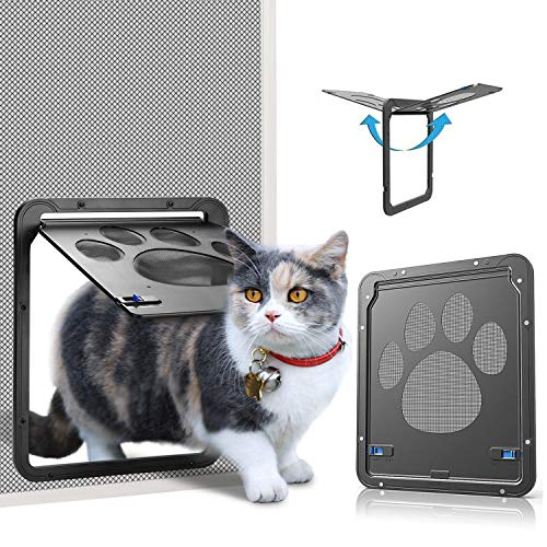 OWNPETS Pet Screen Door,Inside Door 8x10x0.4 inch,Lockable Magnetic Flap Screen Automatic Lockable Black Door for Puppy Dog and Cat Door