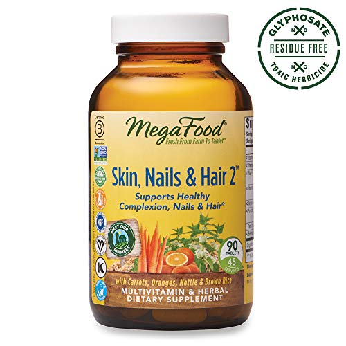 MegaFood, Skin, Nails & Hair 2, Supports Healthy Complexion, Nails & Hair, Multivitamin & Herbal Dietary Supplement, Gluten Free, Vegan, 90 Tablets (45 -