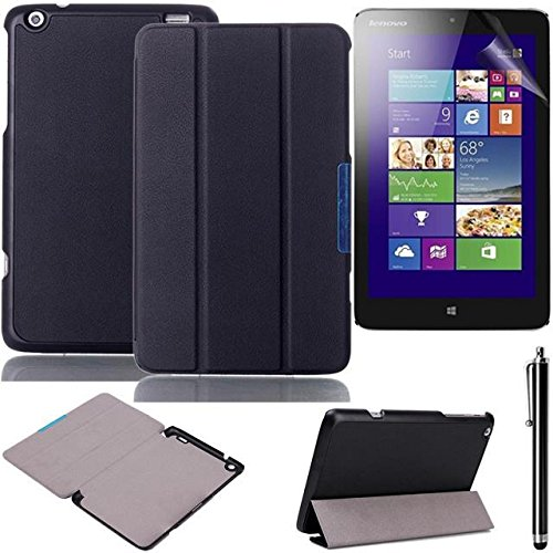 lenovo ideatab Miix2 8-inch Case,Beebiz PU Leather and Hard PC Back Smart Cover Flip Folio Case for Lenovo IdeaTab Miix2 8-Inch Cases and Covers With Stand Feature with Screen Protector and Touch pen (3-Fold,Black)