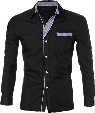 Details about  /Mens Button Down Shirts Modern Slim Fit Long Sleeve Dress Shirt Business
