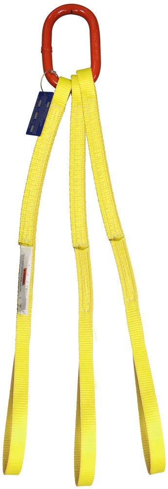 HSI One Ply Three Leg 2 x 3 Oblong-to-Hook Bridle Nylon Sling 3//4 Trade Size Alloy Master Link 9,000 Lb Hook with Safety Latch Vertical Capacity EE1-802