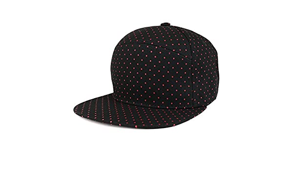 2c71998c82a Trendy Apparel Shop Polka Dot Print Pattern Unique 6 Panel Cotton Flat Bill  Snapback Cap - Black Maroon at Amazon Women s Clothing store