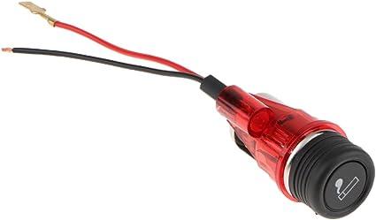 Auto 12V Presa di Corrente Tenda Alimentazione Con Luce Dia 2.8mm Arancia