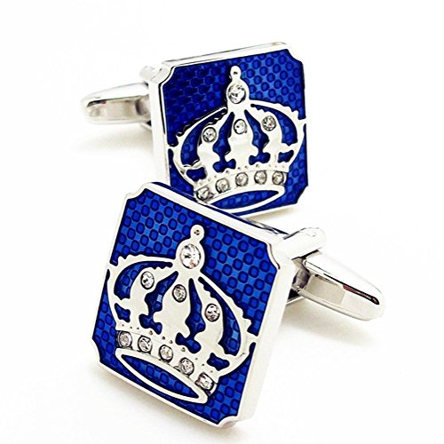 (Covink Gorgeous Blue Square Crown Cufflinks with Diamond Men's Rhodium Plated Cufflinks Cuff Buttons)