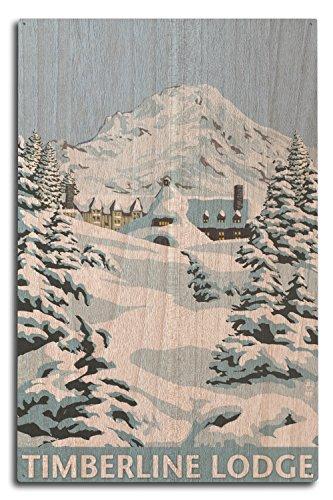 Mt. Hood, Oregon - Timberline Lodge Winter Scene (10x15 Wood Wall Sign, Wall Decor Ready to ()