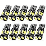 #10: 10Pcs, 194 LED Bulb, Super Bright 168 2825 W5W T10 Wedge LED Bulbs, Interior Car Led Lights Error Free for Car Interior Dome Map Door Courtesy License Plate Lights, RV Camper, 12V White