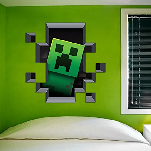 D Minecraft Style Wall Decal Poster Sticker Room Bedroom Decor - 3d minecraft wall decals