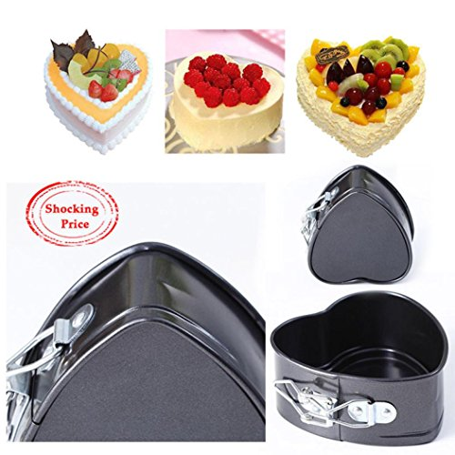 Heart Fluted Shape (SanCanSn Cake Mould, Non-Stick Love Heart Shape Cake Pan Tin DIY Cake Mold Baking Cheese Bread Tray (Silver, 11x4.5cm))