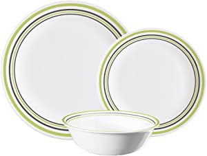Corelle Vitrelle Glass 12-Piece Garden Sketch Bands Dinner Set, Green/Grey