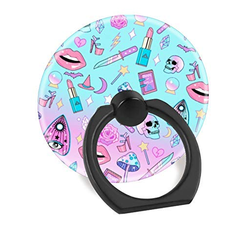 (360 Degree Rotation Socket, Cell Phone Pop Grip Stand Works for All Smartphone and Tablets - Girly Pastel Witch Goth Pattern)