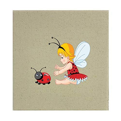 Style In Print Little Girl with Wings and Ladybird Cotton Canvas Stretched Natural Canvas Printed Canvas - 8
