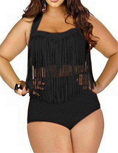 Umanak Fancy Women's Plus Size Tassels Swimsuit Swimwear Bikini Set Two Pieces BlackLarge