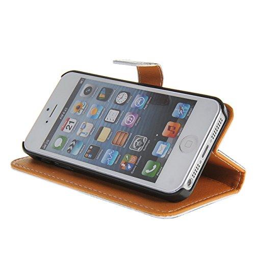 MOONCASE Case für iPhone 5 / 5G / 5S Tasche Flip Leder Schutzhülle Etui Case Cover Hülle Schale / a10