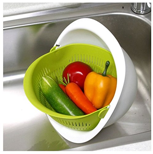 Reverse Mixing Bowl - Multi function Mixing Bowl with Strainer Colander (Green) Made in Korea by Need