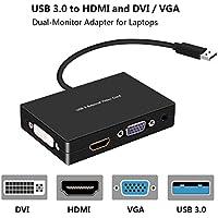 USB 3.0 to HDMI-VGA-DVI Monitor External Video Card Adapter,Rongyuxuan Monitor Outputs HDMI DVI-D VGA,Support Via 3.5mm Stereo Mini-Jack Full HD1920x1080p(Black)