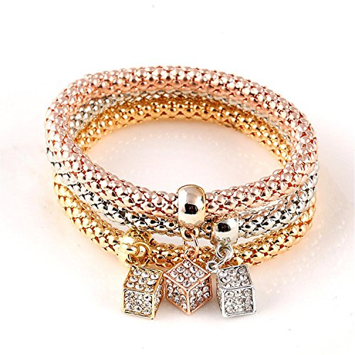 3 PCS/Set Crystal Butterful Bracelet & Bangle Multiple Shape Elastic Heart Bracelets For Women CS61A16