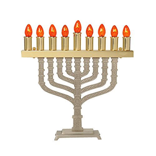 (Israel Giftware Designs Electric Brass Menorah Comes with a set of bulbs-EM-666)