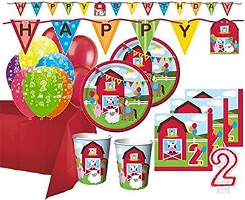Xxl 67 Teile 2 Geburtstag Bauernhof Party Set 16 Personen Amazon