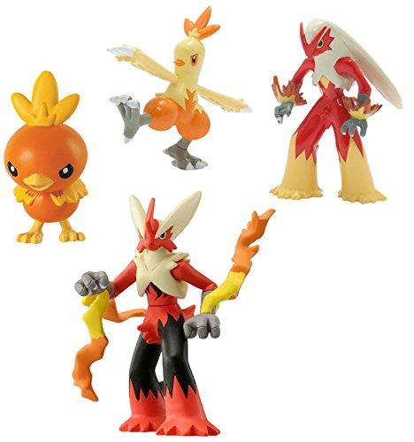 Pokemon XY Torchic Blaziken /& Mega Blaziken Mini Figure 4-Pack Tomy Combusken