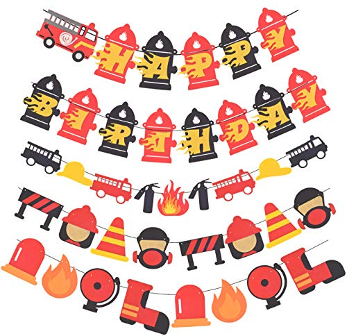 Firetruck Birthday Banner, Fireman Happy Birthday Party Sign, Firefighter Birthday Party Decoration, Fire Truck Birthday Party Decoration Pack, Fire Engine Rescue Birthday Decoration, Perfect for Fire