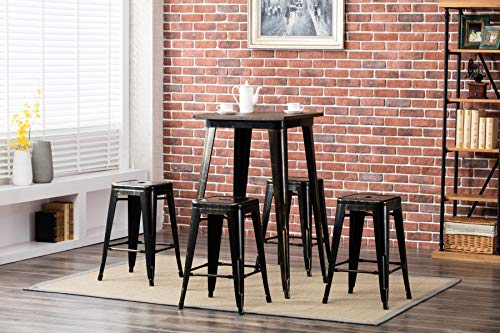 Porthos Home Tolix Style Metal Cafe Stool 24″ Counter Height in Weathered Finish, Set of 4, One Size, Vintage Copper
