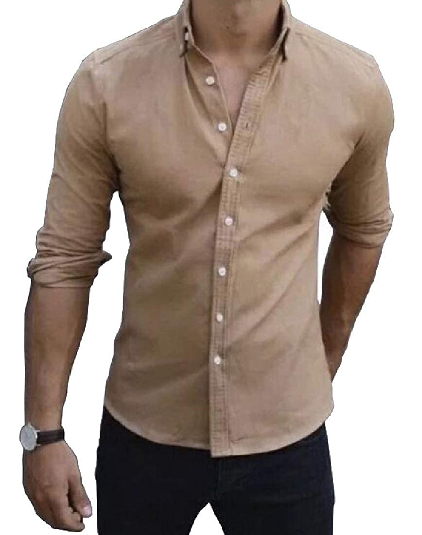 Hajotrawa Men Button Down Casual Regualr Fit Shirts Long Sleeve Shirts