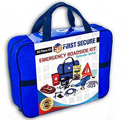 First Secure 90 Piece Roadside Emergency Car, Truck and RV Kit with Safety Tools & Accessories Bag: Jumper Cables • Air Compressor • First Aid Kit • Tow Rope • Triangle • Flashlight