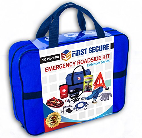 First Secure 90-Piece Car Emergency Kit with Roadside Assistance Jumper Cables Portable Air Compressor Tow Strap...