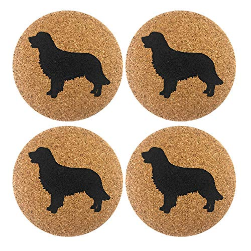 Golden Retriever Gift Dog Cork 4 Pack Drink Coasters Set -Kitchen Bar Table Decor - Perfect Decoration for Puppy Dog Lovers (Golden Presents Retriever)