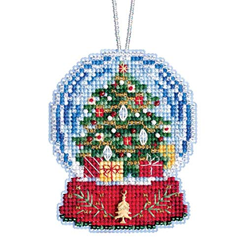 Hill Ornament - Christmas Tree Snow Globe Beaded Counted Cross Stitch Charmed Ornament Kit Mill Hill 2019 Snow Globes MH161936