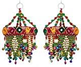 DollsofIndia 2 Decorative Wall Hangings with Mirror and Bead Work - 7.5x3x3 in. Each (MV93)