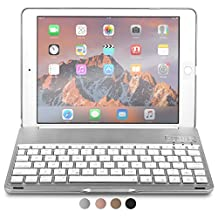 iPad Air 2, iPad Pro 9.7 keyboard case, COOPER NOTEKEE F8S Backlit LED Bluetooth Wireless Rechargeable Keyboard Macbook Clamshell Clamcase Cover 7 Backlight Colors - Silver / NOT FOR IPAD 9.7 2017