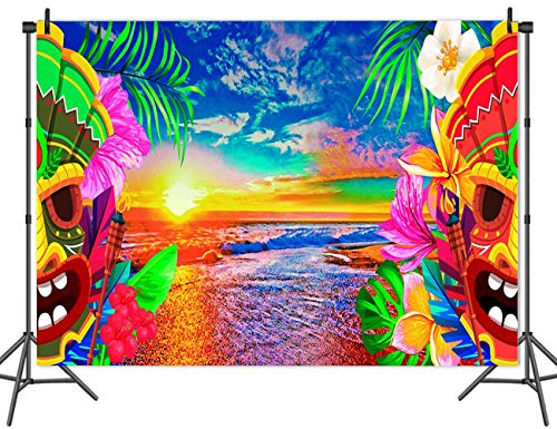 Qian 7x5ft Vinyl Hawaiian Beach Palm Photo Background Mexican Mask Photography Backdrops for Hawaiian Theme Wedding Birthday Party Decoration Studio Props Banner ()