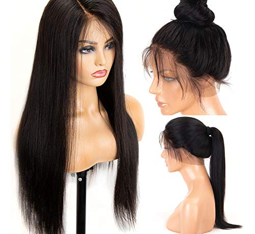 360 Lace Frontal Wig Straight 250 Density Lace Front Human Full End Wigs For Black Women Baby hair,22inches,13x4 Lace Front ()