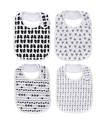 Cotton 100% Waterproof Snap Large Bibs for Baby Boys Feeding Drooling for 4 Pack