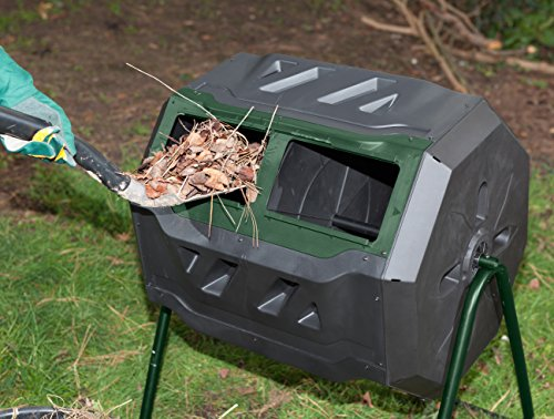 Exaco Trading Company Exaco Mr.Spin Compost Tumbler - 160 Liters / 43 Gallon, Dual Chamber Composter On Two-Leg Stand by Exaco Trading Company (Image #3)