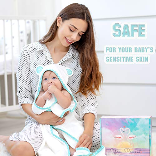 Organic Bamboo Hooded Baby Towel - Extra Soft and Super Absorbent Good for Baby, Newborns, Infants and Toddlers Skin - Large Baby Bath Towels 35x35 Inches
