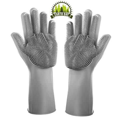 (Magic Saksak Silicone Dishwashing Gloves Reusable Brush Heat Resistant Glove for Dish Washing Cleaning Kitchen Household Pet Hair Care (Gray))
